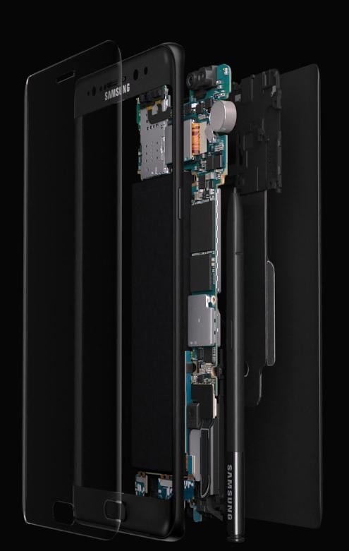 Kuva: Samsung Galaxy Note 7 rakenne.