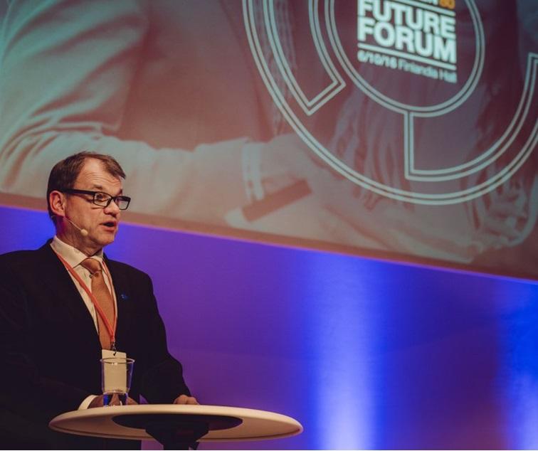 Pääministeri Juha Sipilä mainosti tapahtumassa uutta Tekesin innovaatioseteliä ja innovaatiopankkia.
